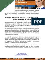 Carta abierta a los zacatecanos