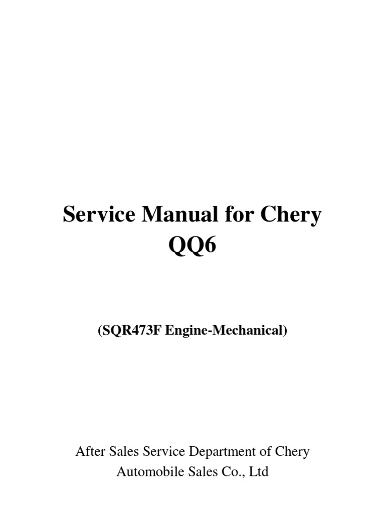 9 Service Manual Manual Motor SQR463F | Internal Combustion Engine on