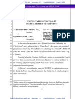 Activision Gibson Patent Case - Summary Judgement Order