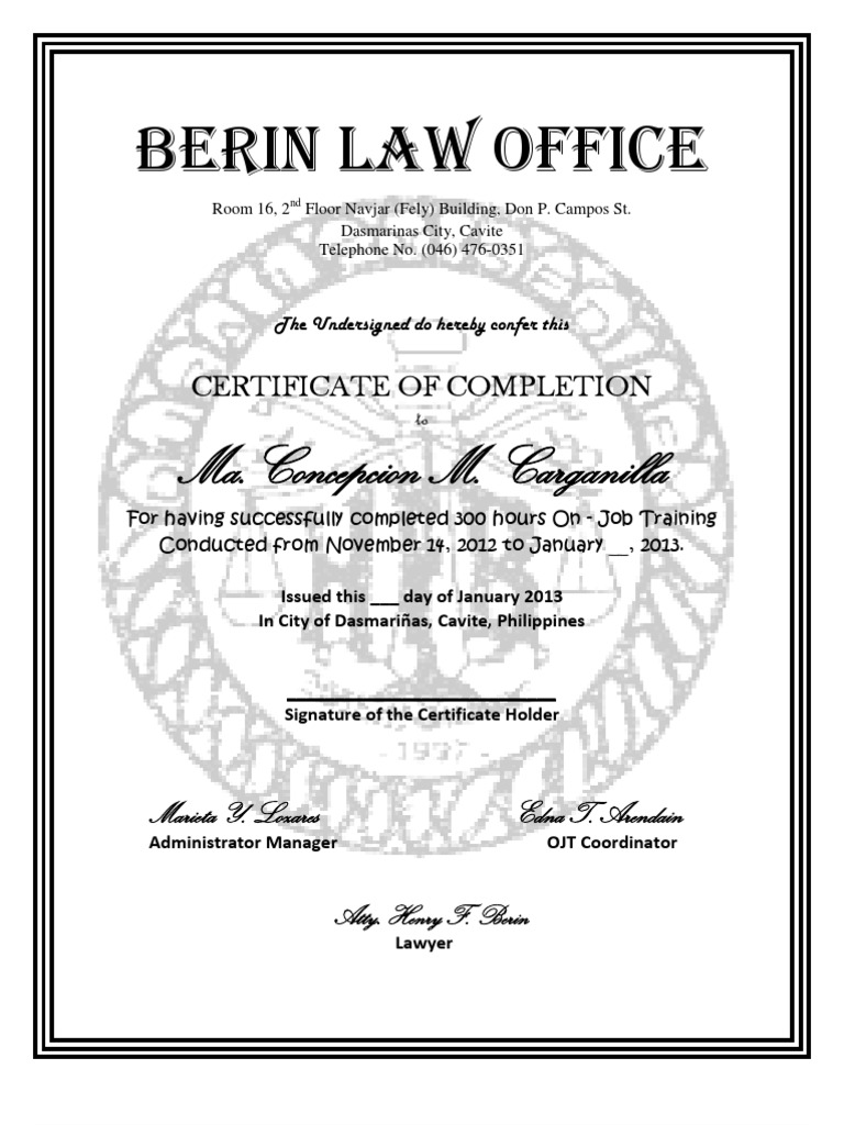 CERTIFICATE OF OJT con condocx – Example of Certificate of Completion