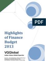 VGGlobal - Highlights of Finance Budget 2013