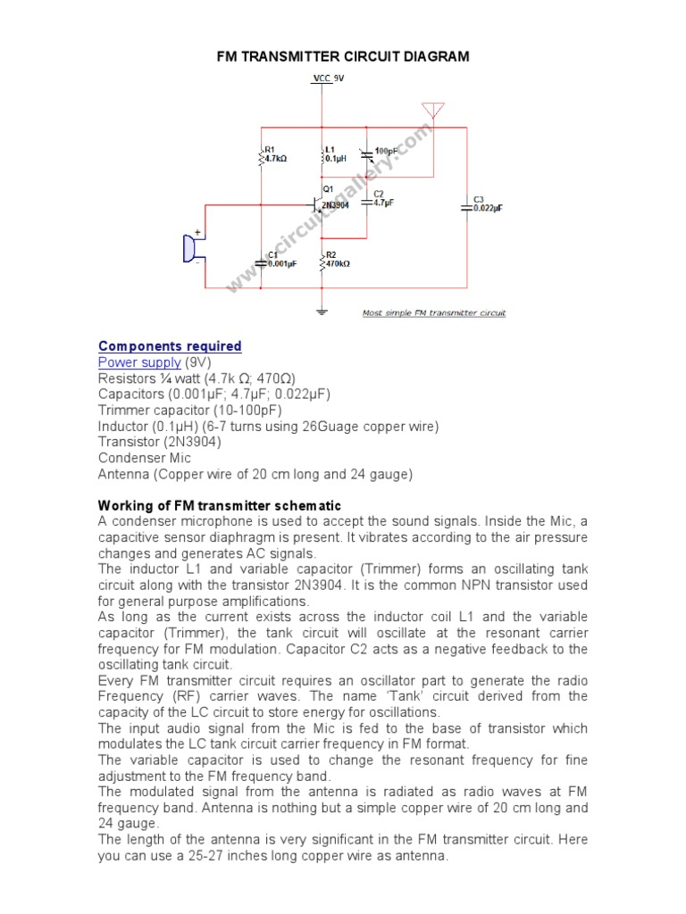 Fm Transmitter Circuit Diagram Inductor Trimmer Wiring