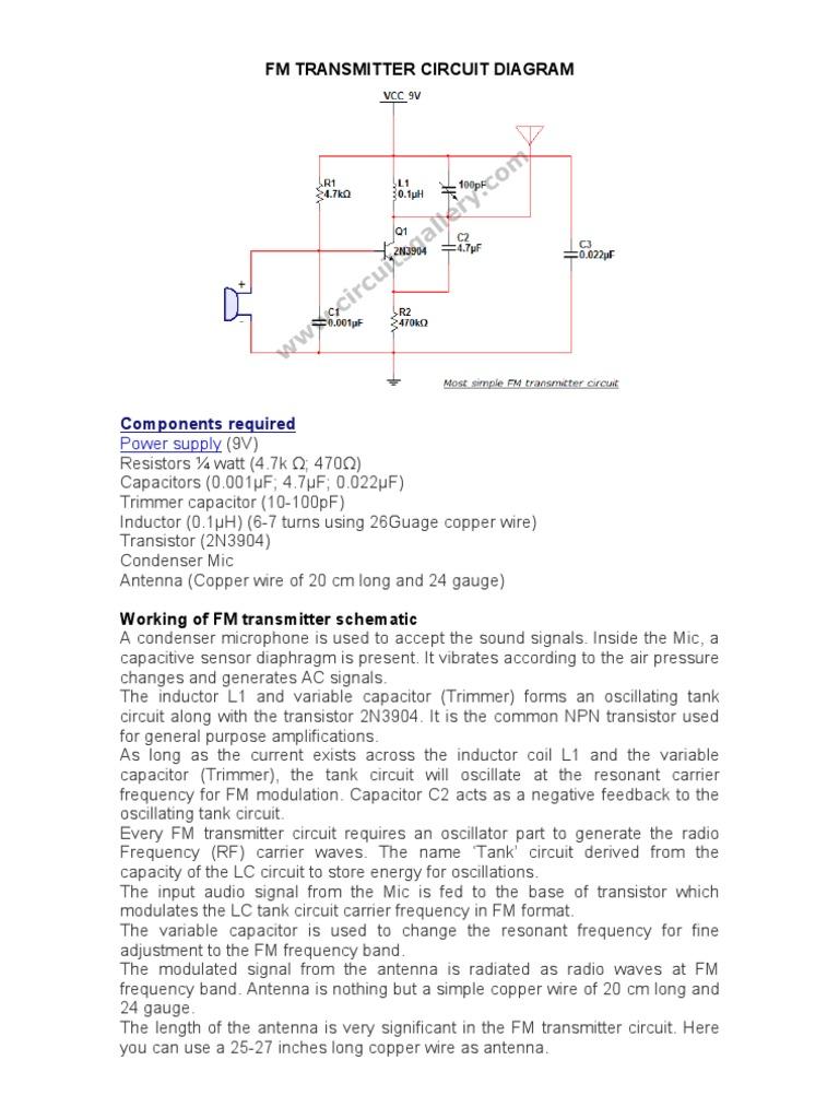 Fm Transmitter Circuit Diagram   Inductor   Transmitter