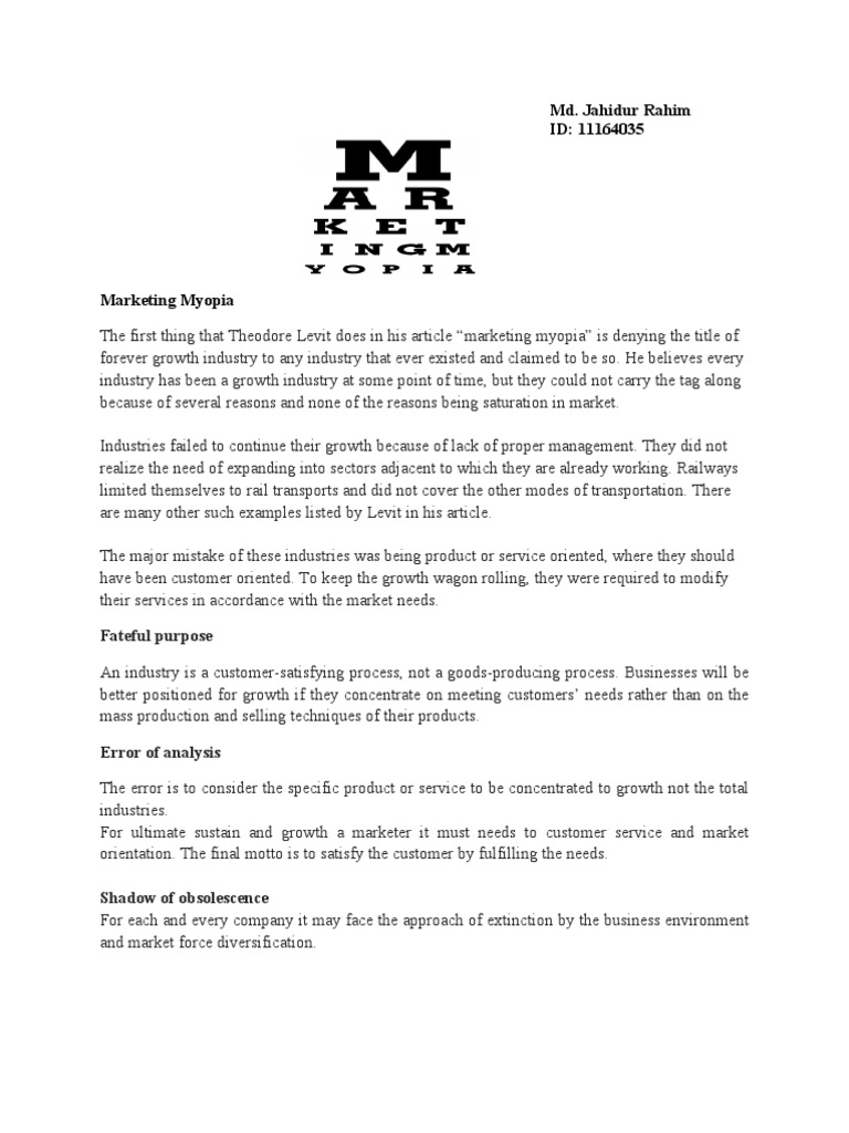marketing myopia examples in indian market