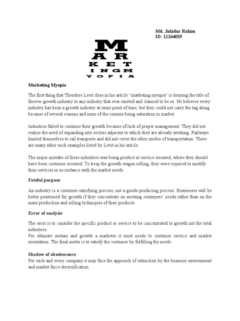 marketing myopia theodore levitt summary