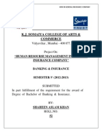 HRM INSURANCE 100 Marks Project.(INSURANCE)