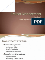 Project Management - 6 Financing - Investment Criteria