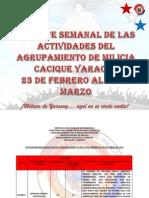 Reporte Semanal 23-03-2013. Agrupamiento de Milicia Yaracuy