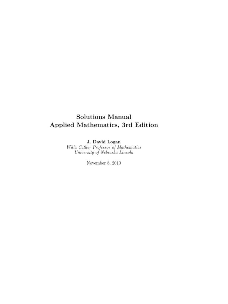 Logan Applied Mathematics Solution Manual   Mathematical Concepts    Mechanics
