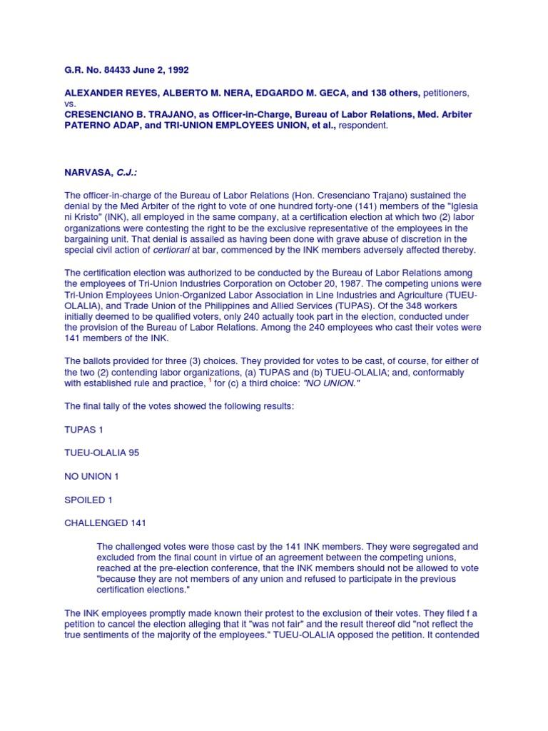 Labor Cases Trade Union Employment