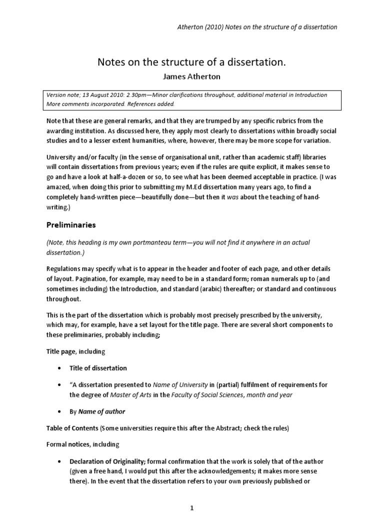Writing a dissertation
