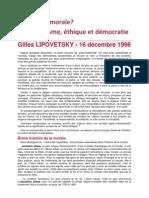 Mort de la morale, individualisme, éthique et démocratie - Gilles LIPOVETSKY - 16 décembre 1996