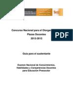 Guía del Examen de Plazas PREESCOLAR