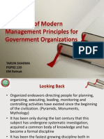 Relevance of Modern Management Principles for Government Organizations