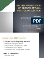 Reverse Optimization of Growth Optimal Portfolio Selection