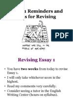 Essay 1 Reminders
