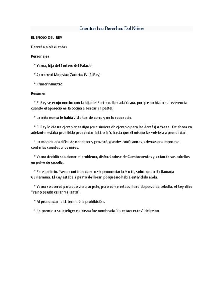 Resumen cuentos los derechos del ni os for Resumen del libro quimica en la cocina