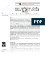 Consumer Evaluation of Sales Promotion the Effect on Brand Choice