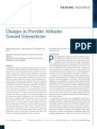 Changes in Provider Attitudes Toward Telemedicine