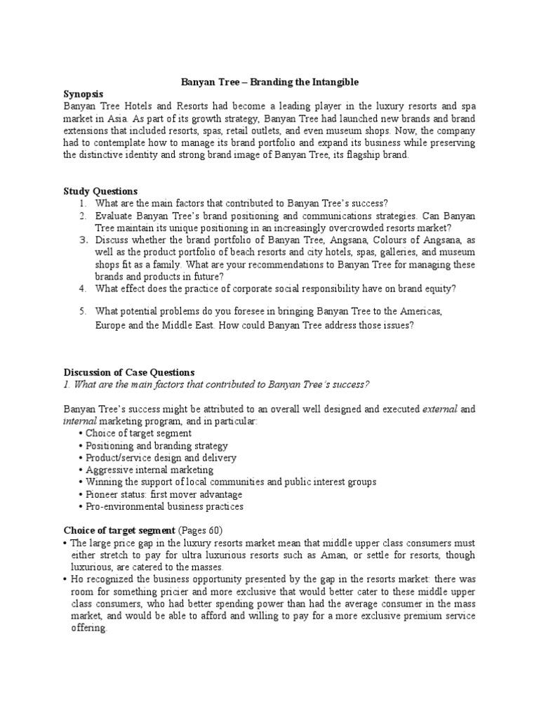 discuss whether the brand portfolio of banyan tree and angsana