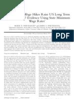Do Minimum Wage Hikes Raise US Long Term Unemployment Evidence Using State Minimum Wage Rates