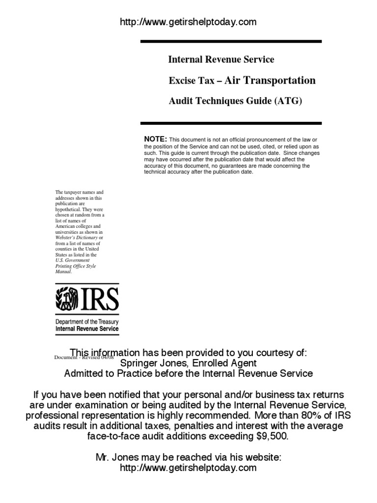 Irs audit guide for the air transportation industry internal irs audit guide for the air transportation industry internal revenue code internal revenue service falaconquin