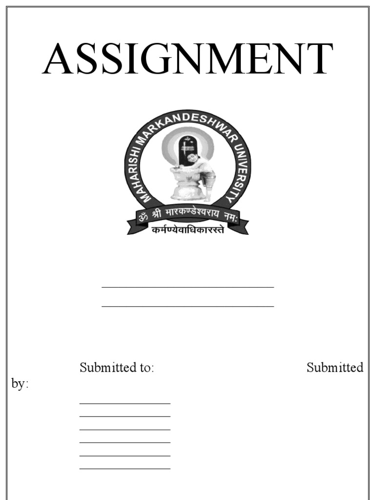 assignment front page format doc
