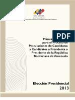 Manual de Postulaciones Elecciones Presidenciales 2013