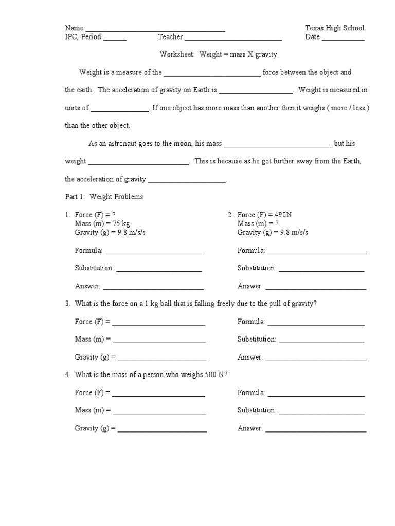 Worksheet Force Mass x Gravity – Gravity Worksheet Middle School
