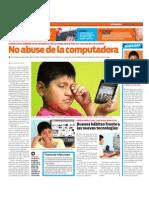 No abuse de la computadora. Síndrome visual informático