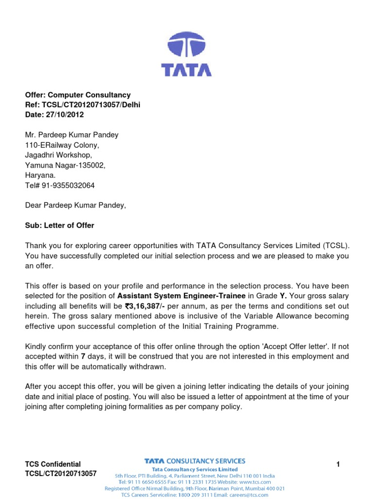 letter for not accepting job offer due to salary acceptance offer letter