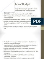 Highlights of Budget 2012-13