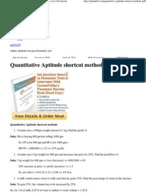 Quantitative Aptitude Shortcut Methods PDF-tricks to Solve Download