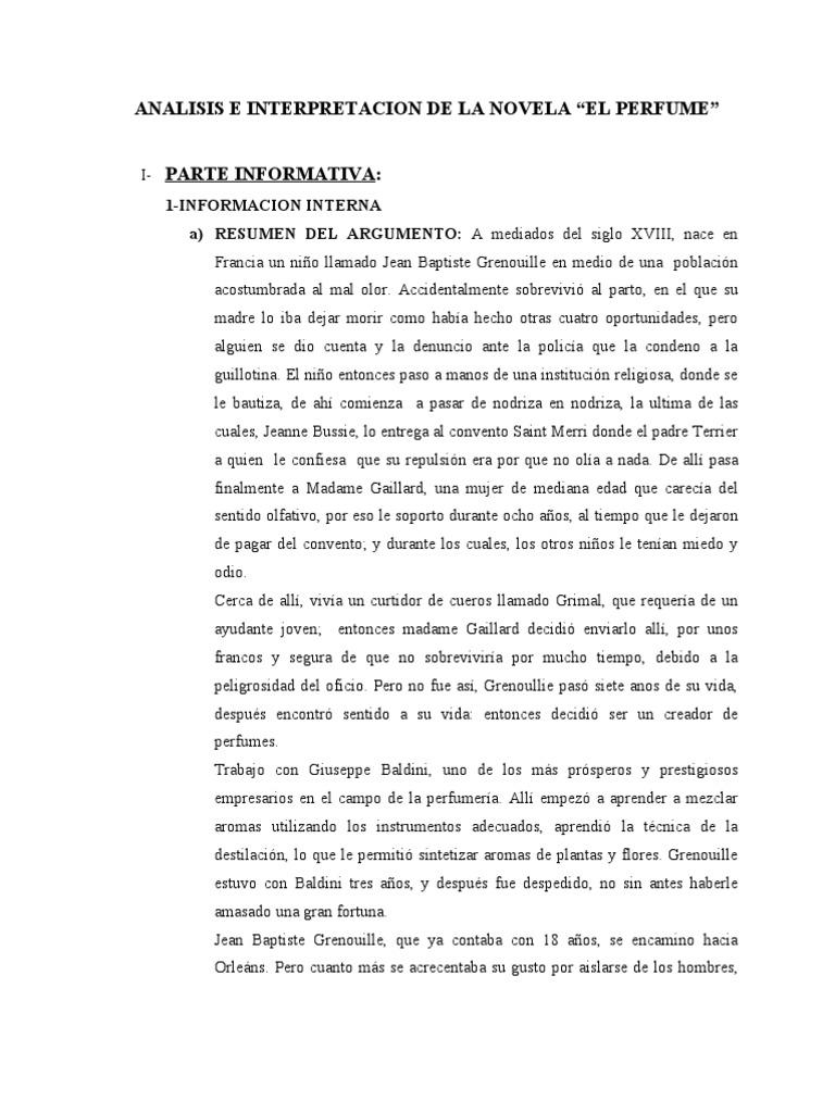 """Análisis e Interpretación de la novela """"El Perfume"""".doc"""
