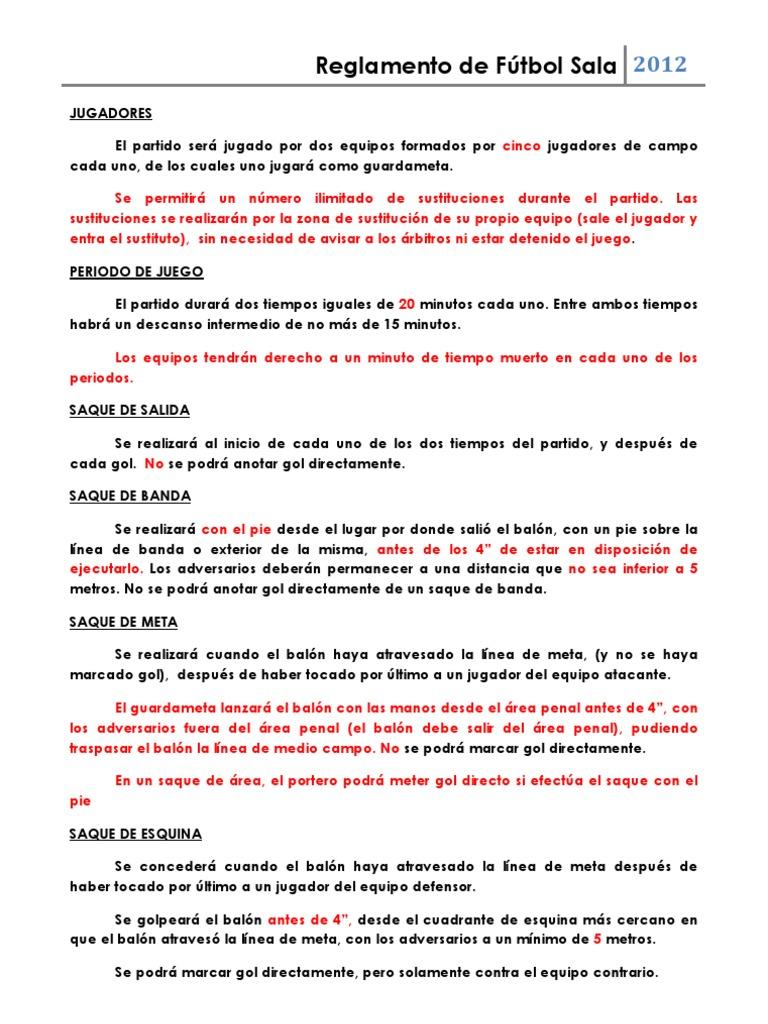 Resumen reglamento f tbol sala pdf for 10 reglas del futbol de salon