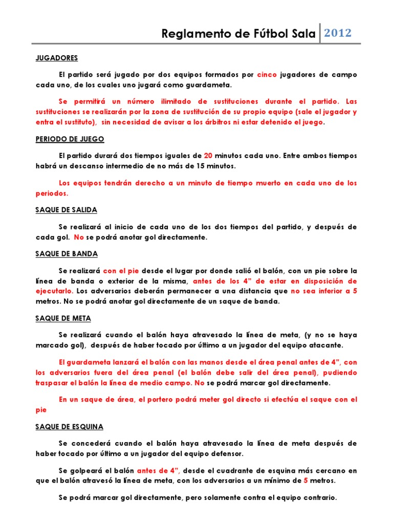 Resumen reglamento f tbol sala pdf for 5 reglas del futbol de salon