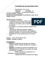 PLAN DE ACTIVIDADES DE SALIDA EDUCATIVA.Zoológico