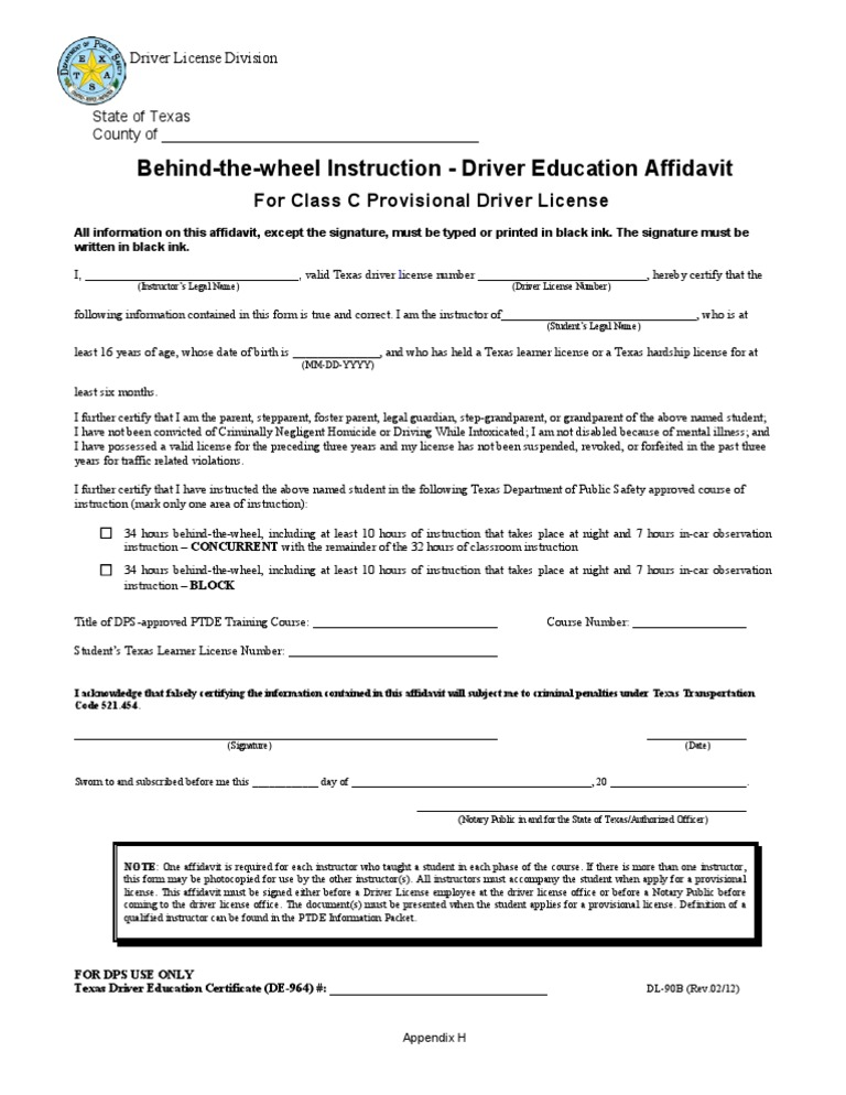 Good Dl 90b : Behind The Wheel Instruction U2013 Driver Education Affidavit