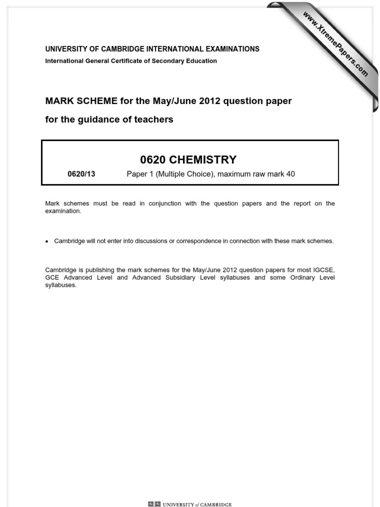 Xtremepapers Chemistry Past Papers