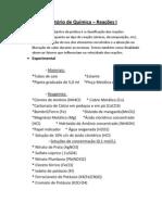 Relatório de Química - reações 1