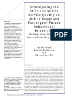 Effects of Airline Service Quality on Airline Image and Behavioural Intention
