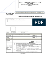 Modelo de Examen parcial   de Inglés III-2012-2