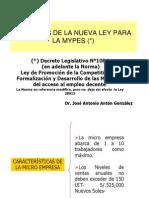Alcances Nueva Ley Mype 2010