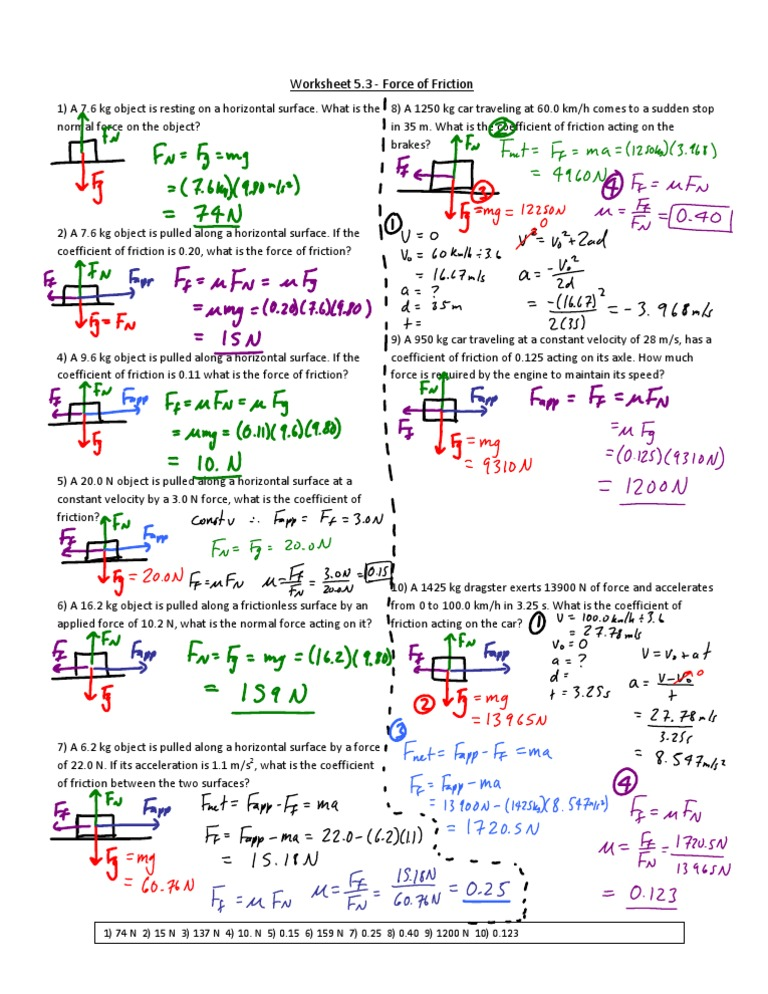 Worksheet Friction Solution – Coefficient of Friction Worksheet