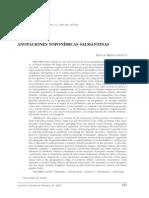 Anotaciones toponimicas salmantinas -  Riesco 2006