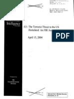 FBI Terrorist Threat to Homeland Assessment 4-15-2004
