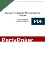 - Spielende Teilnehmer-Programme Und Kasino