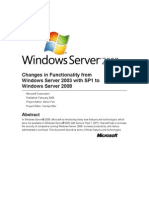 Changes in Functionality Win2K3 SP1 to Win2K8