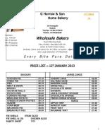 Price List 12 Jan 2013