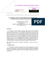 A Factorial Study of Consumer Buying Behavior of Laptops of Post Graduate